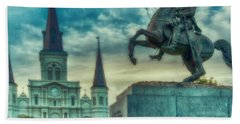 St. Louis Cathedral And Andrew Jackson- Artistic Beach Towel