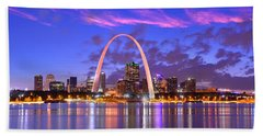 St. Louis Skyline At Dusk Gateway Arch Color Panorama Missouri Beach Towel