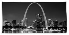 St. Louis Skyline At Night Gateway Arch Black And White Bw Panorama Missouri Beach Towel