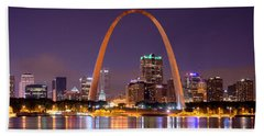 St. Louis Skyline At Night Gateway Arch Color Panorama Missouri Beach Towel