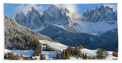 St. Magdalena Village In The Snow In Winter Beach Sheet by IPics Photography