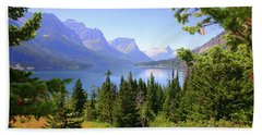 St. Mary Lake Beach Towel by Bob Hislop