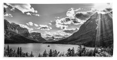 St. Mary Lake Bw Beach Towel