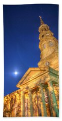 St. Phillip's At Night With Moon And Stars Beach Towel