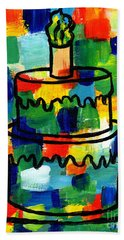 Stl250 Birthday Cake Abstract Beach Towel by Genevieve Esson