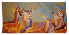 Stag And Deer Painting Beach Sheet