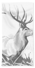 Stag Drawing Beach Towel
