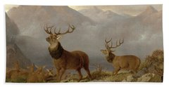 Stags And Hinds In A Highland Landscape Beach Towel