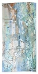 Beach Towel featuring the painting Stained Cracks by Rebecca Davis