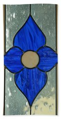 Stained Glass In Blue Beach Sheet by E Faithe Lester