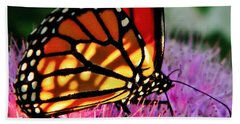 Stained Glass Monarch  Beach Towel
