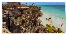 Stairway To The Tulum Beach  Beach Towel by John M Bailey