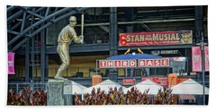 Stan Musial Statue At Busch Stadium St Louis Mo Beach Sheet by Greg Kluempers