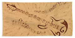 Stand By Me Guitar Notes Original Coffee Painting Beach Sheet