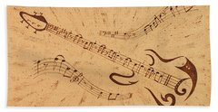 Stand By Me Guitar Notes Original Coffee Painting Beach Towel