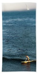 Stand-up Paddling At Sunset In Santa Beach Towel