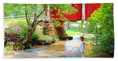 Standing By The River At Campbell's Bridge Beach Towel