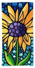Standing Tall - Sunflower Art By Sharon Cummings Beach Towel