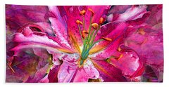 Star Gazing Stargazer Lily Beach Towel