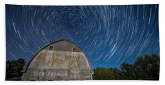 Star Trails Over Barn Beach Towel