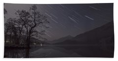 Star Trails Over Lake Beach Towel