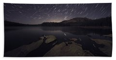Star Trails Over Silver Lake Resort Beach Towel