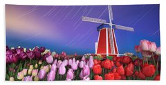 Star Trails Windmill And Tulips Beach Towel