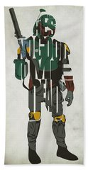 Star Wars Inspired Boba Fett Typography Artwork Beach Towel