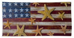 Starfish On American Flag Beach Towel