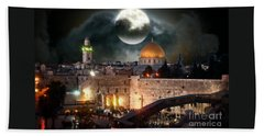 Full Moon At The Dome Of The Rock Beach Towel