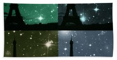 Starry Night - Eiifel Tower Paris Beach Towel