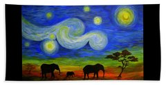 Starry Night Over Africa Beach Towel