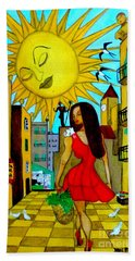 Beach Towel featuring the painting Starting A New Day by Don Pedro De Gracia