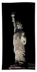 Statue Of Liberty After Midnight Beach Towel