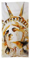 Statue Of Liberty Closeup Beach Towel