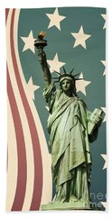 Statue Of Liberty Beach Towel by Juli Scalzi