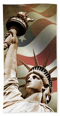 Statue Of Liberty Beach Towel by Mark Rogan
