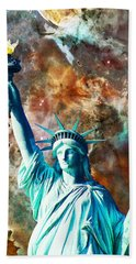 Statue Of Liberty - She Stands Beach Towel