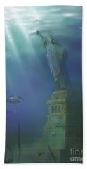 Statue Of Liberty Under Water Beach Towel