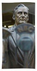 Statue Of Us President Franklin D Beach Towel