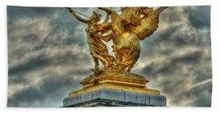 Statue On Pont Alexandre IIi Beach Towel