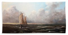 Beach Towel featuring the painting Staying Ahead Of The Weather by Lee Piper