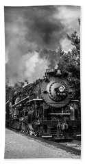 Steam On The Rails Beach Towel