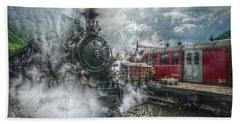 Steam Train Beach Towel by Hanny Heim