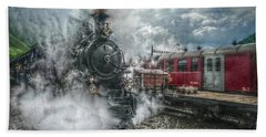 Beach Sheet featuring the photograph Steam Train by Hanny Heim