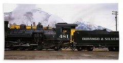 Steam Train On Railroad Track, Durango Beach Towel
