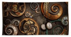 Steampunk - Abstract - Time Is Complicated Beach Towel by Mike Savad