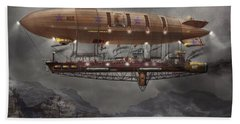 Steampunk - Blimp - Airship Maximus  Beach Towel