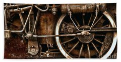 Steampunk- Wheels Of Vintage Steam Train Beach Towel