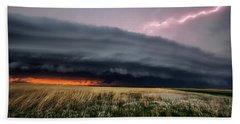 Steamroller - Storm Spans Horizon In Kansas Beach Towel